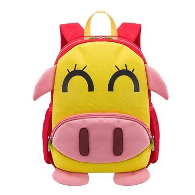 Toddler School Bag Kid Children Boy Girl 3D Cartoon Pig Backpack WaterProof Gift