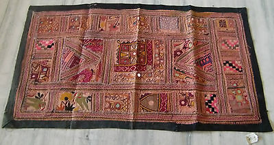 Vintage Old Beautiful Embroidered Patch Work Decorative Wall Hanging Tapestry