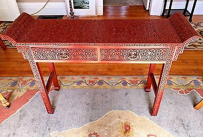 Antique  Chinese Carved Tixi Lacquer Altar Table~Pommel