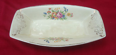 Pretty Vintage Art Deco England Oblong Small Jam Pin Dish *Pink Roses Gold Gilt