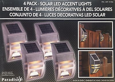 Paradise 4 Pack Solar Powered Wall / Fence Stainless Steel LED Accent Lights NEW