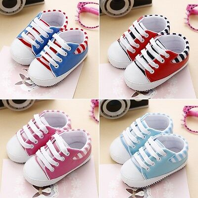 Infant Baby Boy Girl Striped Sneakers Toddler Kids Soft Sole Crib Shoes 0-18M AU