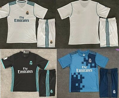 17/18 Top Quality Real Madrid Home Away Soccer Jersey Set  Kids Youths