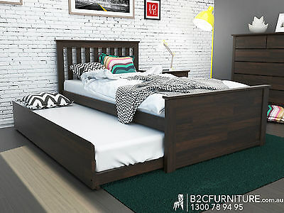 Modern Kids King Single size bed with trundle,Hardwood Timber in Dark Chocolate