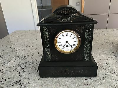 French Slate Marble Desk Or Mantle Clock Circa 1880 In Very Original Condition
