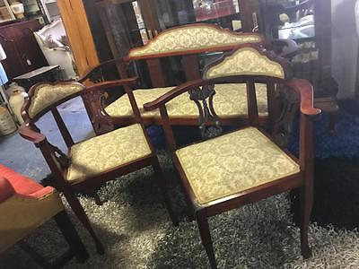 Antique Late Victorian English 3 Piece Parlour Suite Including 2 Corner Chairs