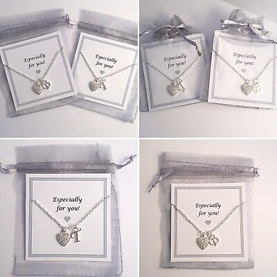 Initial Letter Necklace Pendant with Crystal Heart & Chain Gift Girls Women