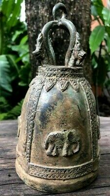 Bell Vintage Clapper Dragon 4 Elephant Temple Buddha Hang Chime Wind Thai Bronze