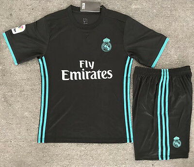17 Top Quality Real Madrid Away Soccer Jersey Set Shirt Shorts Kids Youths