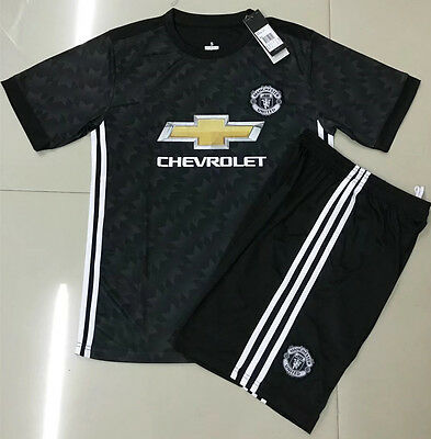 17/18 Top Quality Manchester United Away Soccer Jersey Set  Kids Youths