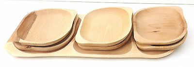 Wooden serving plate set ,7 piece large Barbecue set,untreated plate & tray set
