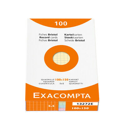 [Ref:13272E-2] EXACOMPTA Lot de 2 ETUIs Paquet de 100 Fiches BRISTOL 100x150mm 5