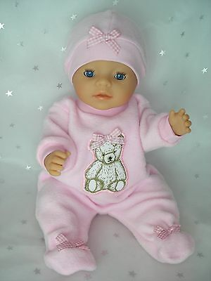 "Dolls clothes  for 17"" Baby Born doll~PINK TEDDY BEAR JUMPSUIT~GINGHAM BOWS~HAT"