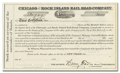 Chicago and Rock Island Rail Road Co. Stock Certificate Signed By Henry Farnham