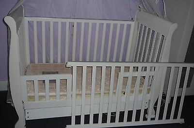 3 in 1 Sleigh Cot crib Toddler Bed with Drawer & Mattress & Accessories