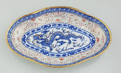 Rare Antique Chinese Rice Grain Pattern Oval Bowl Unmarked (A18)