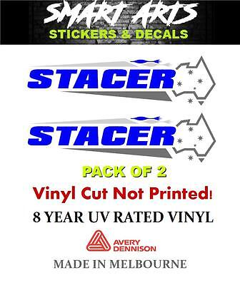 Stacer Blue Stickers Decals Quality Marine Vinyl Boat Fishing Aluminium Runabout