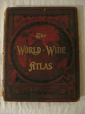 Antique 1914 World Wide Atlas Of Modern Geography By W & A.k. Johnston 128 Maps