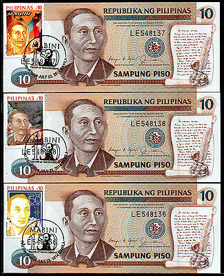 Philippines Ten Pesos with Mabini stamp set and cancel