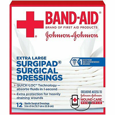 Band-Aid Extra Large Surgipad Surgical Dressings 5 In X 9 In - 12 Ct