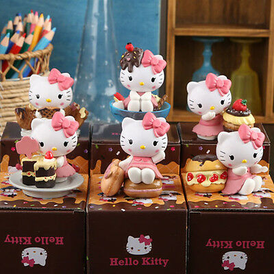 6pcs 5-8CM Cake theme Hello kitty Anime action figure collection PVC Toys Gifts