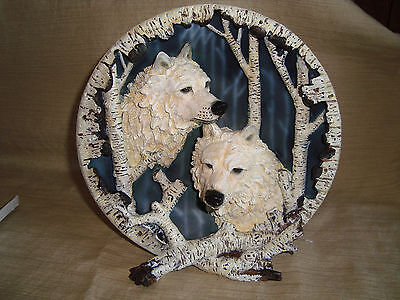 3-Dimensional Collector's Plate Features A Pair Rare White Wolves~Father Day~NIB