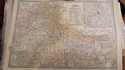 antique map North India, inset of Delhi 1903