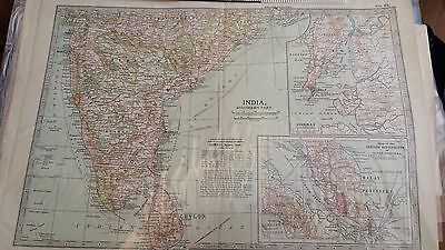 antique map South India, inset Bombay and Malayan peninsula 1903