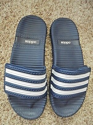 ADIDAS MENS 13 SLIDES WATER BEACH SHOES Strap STRIPES FLIP FLOPS NAVY WHT