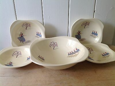 Vintage Beswick Ballet 5 Piece Serving Set- Large Bowl, With Four Small Bowls