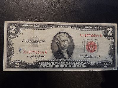 1953 A United States Note $2 Two Dollars Red Seal A 48776644 A