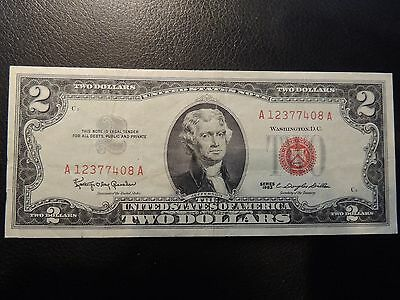 1963 United States Note $2 Two Dollars Red Seal A 12377408 A