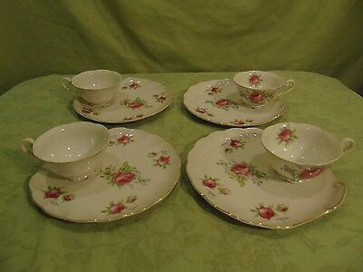 Lefton Rose 8 Piece Tea Cups And Snack Plates Crumpet Tray