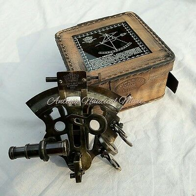 Nautical Brass Sextant Astrolabe With Leather Box Vintage Marine Antique