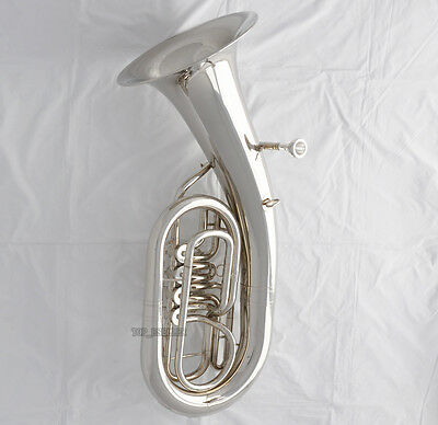 Professional Silver Nickel 4 Rotary Valves Euphonium Bb Key New horn With Case