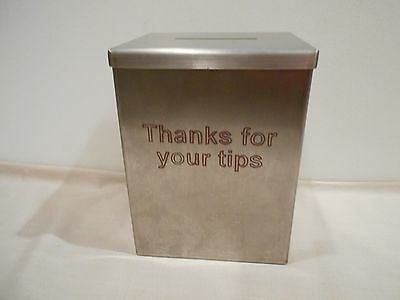 "Vintage Restaurant Style ""Thank you for your tips"" Metal Container  slot in Lid"