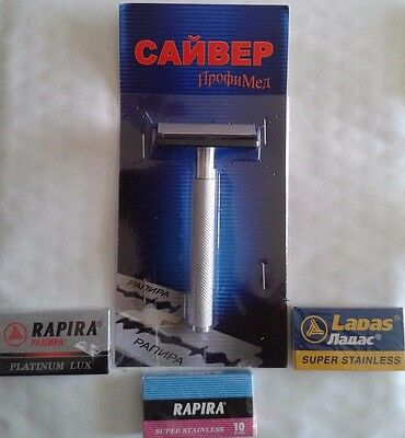 Saiver Dual Comb Russian Safety Razor + 20x Double Edge Razor Blades