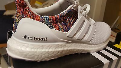 Adidas mi Ultra Boost Rainbow Triple White Men's Size 9.5 DS