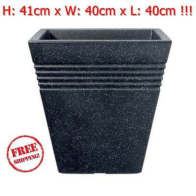 Tall Square Planter Pots Plastic Large Garden Patio Outdoor Granite Flower 40 Lt