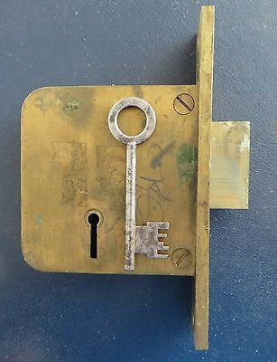 "Vintage old antique 6 lever Chubb Patent 3"" Brass Mortice Deadlock with key."