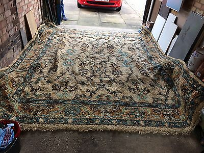 1930's Hand Woven Large Antique Indian Thick Wool Rug 9 x 10ft Ex Condition