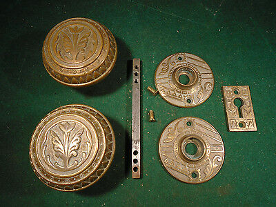 BRITTAN GRAHAM & MATHES DOOR KNOB SET, BRASS, w/ESCUTCHEONS BLUMIN F-11510(7830)