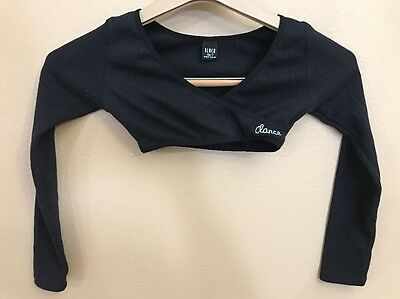 Bloch Warm Up Sweater Dance Girls 6X-7 Black Long Sleeve