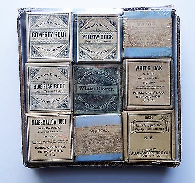 Lot of 9 botanic herbal medicine drugs apothecary Parke Davis Co., Dohme Wilson