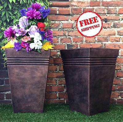 Tall Square Planter Pots Set x2 Plastic Large Garden Flower Herb Bronze Pewter