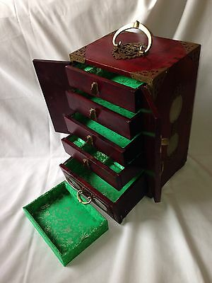 Large Antique Chinese Wood, Brass And Jade Jewellery Chest Box