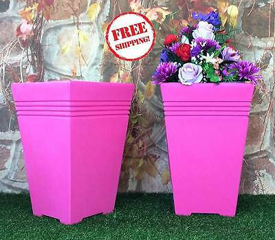 Tall Square Planter Pots Set x2 Pink Plastic Large Garden Flower Herb Pewter Uk