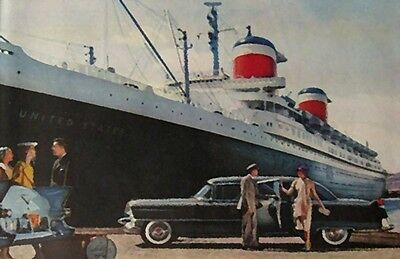 SS United States and Cadillac   12 x 18 poster