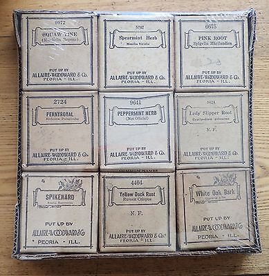 Lot of 9 botanic herbal medicine drugs apothecary Allaire-Woodward & Co., Peoria