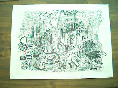 "Artist Charles Cobelle  Signed & Numbered Print 16/20  ""New York City"""